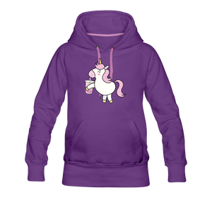 Unicorn Boba Women's Premium Hoodie | Bubble Tea Unicorn Hoodie - purple