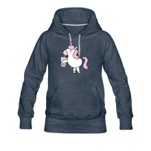 Load image into Gallery viewer, Unicorn Boba Women's Premium Hoodie | Bubble Tea Unicorn Hoodie - heather denim