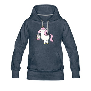 Unicorn Boba Women's Premium Hoodie | Bubble Tea Unicorn Hoodie - heather denim