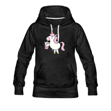 Load image into Gallery viewer, Unicorn Boba Women's Premium Hoodie | Bubble Tea Unicorn Hoodie - charcoal gray