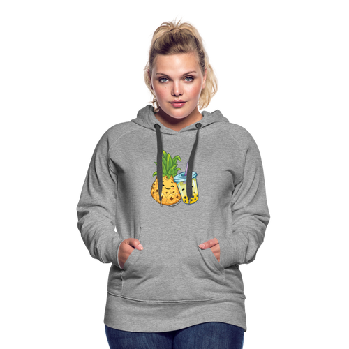 Pineapple & Boba Tea Women's Premium Hoodie - heather gray