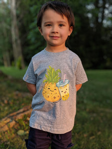 Toddler Pineapple & Boba Tea Shirt | Toddler Boba Shirt