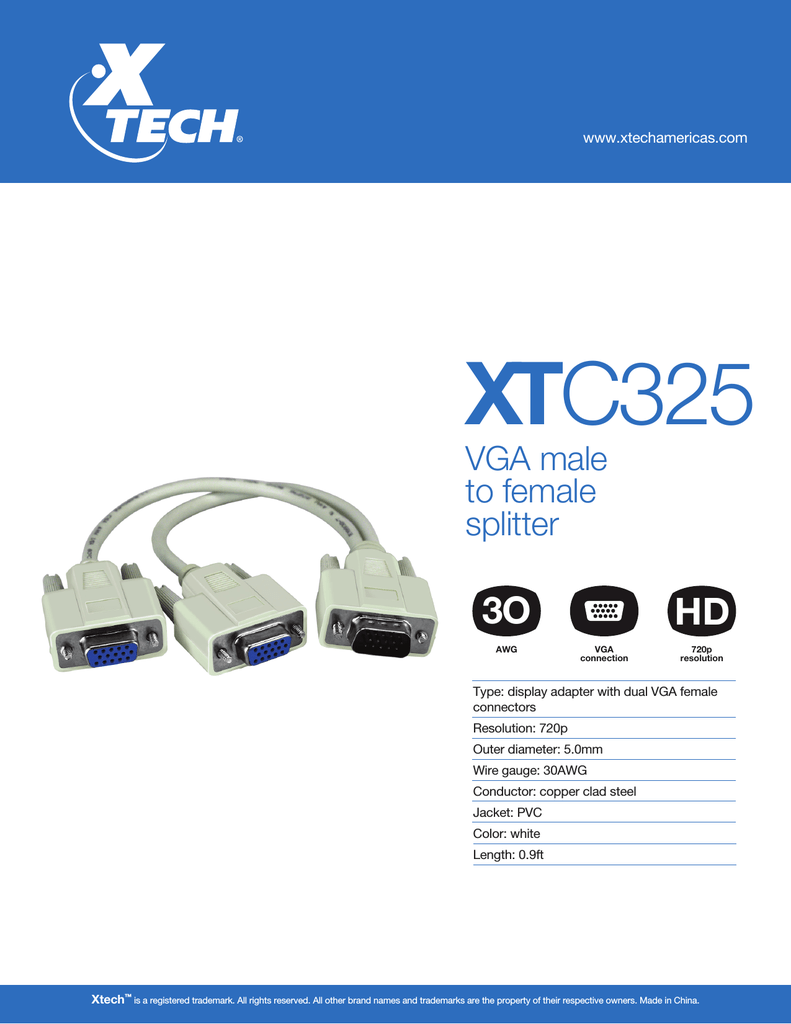 Xtech VGA Male to Female Splitter