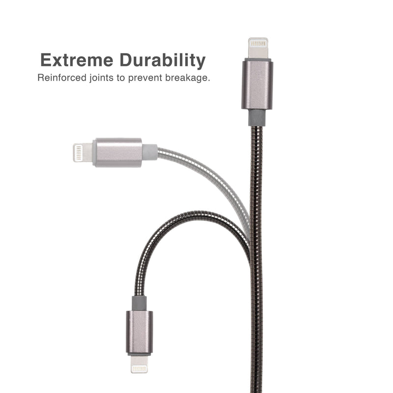 Argom 3ft Dura Spring Lighting to USB Metal Braided Cable