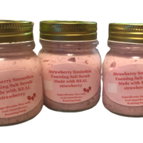 Strawberry Smoothie Foaming Salt Scrub - Full of Life Natural Products