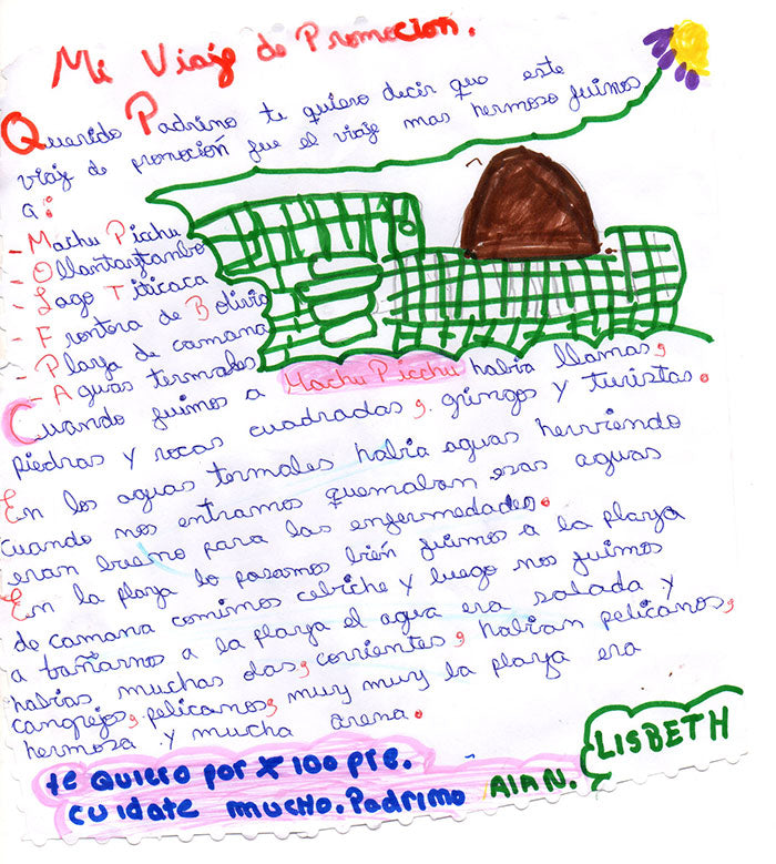 Thank You Letter from Lisbeth in Peru