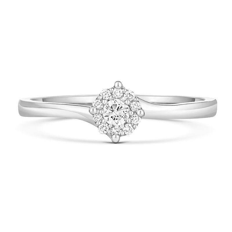 Cara Ethical Engagement Ring with Diamond Halo Cluster - CRED Jewellery - Fairtrade Jewellery - 2