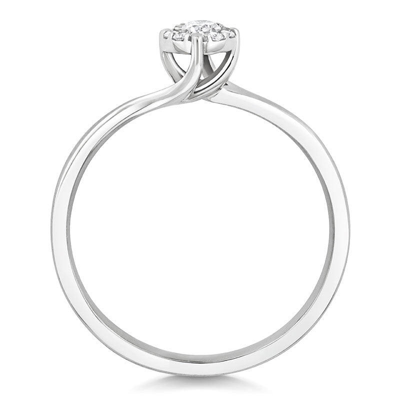 Cara Ethical Engagement Ring with Diamond Halo Cluster - CRED Jewellery - Fairtrade Jewellery - 3