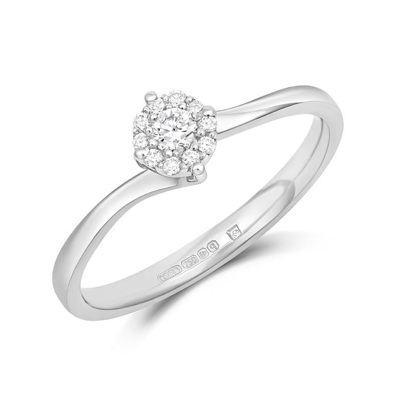 Cara Ethical Engagement Ring with Diamond Halo Cluster - CRED Jewellery - Fairtrade Jewellery - 1