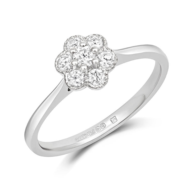Fleur Cluster Ethical Engagement Ring - CRED Jewellery - Fairtrade Jewellery - 1