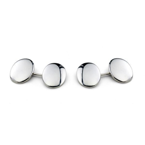 Silver Plain Double Domed Oval Cufflinks - CRED Jewellery - Fairtrade Jewellery