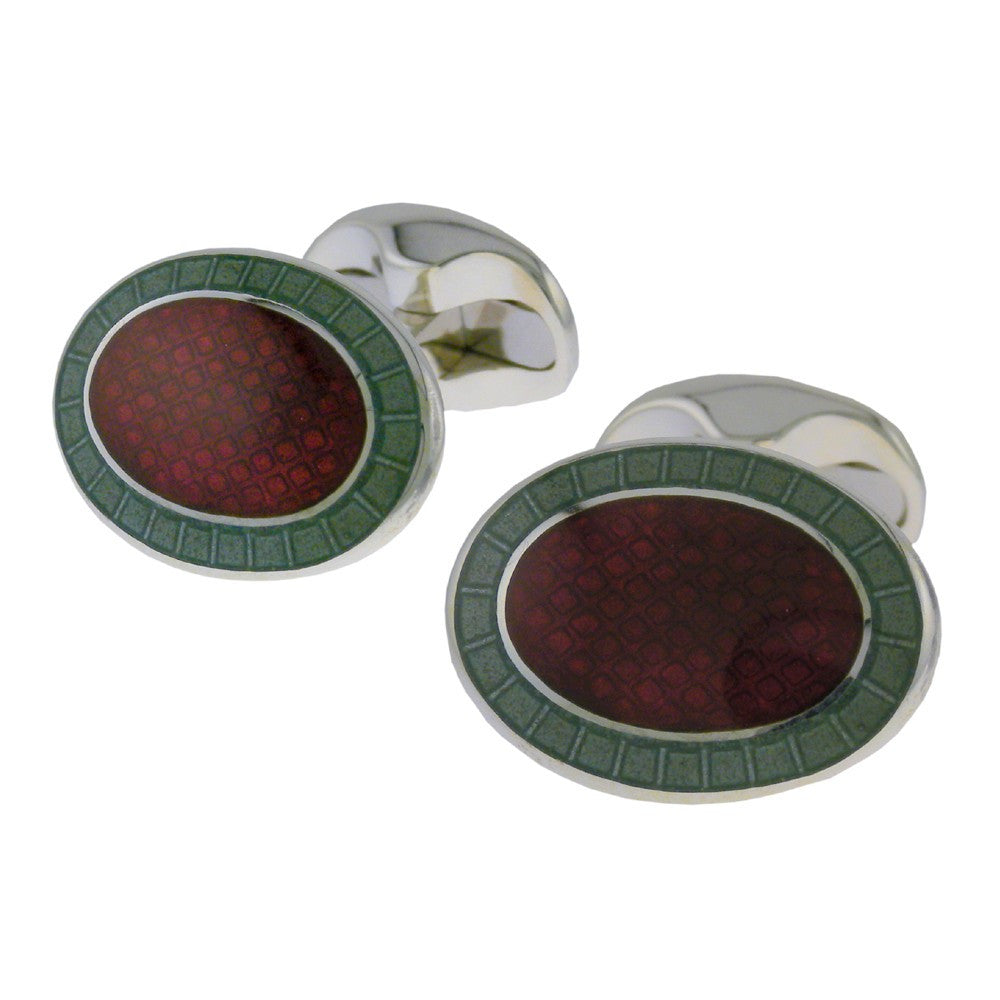 Maroon & Green Edge Enamel Oval Cufflinks - CRED Jewellery - Fairtrade Jewellery