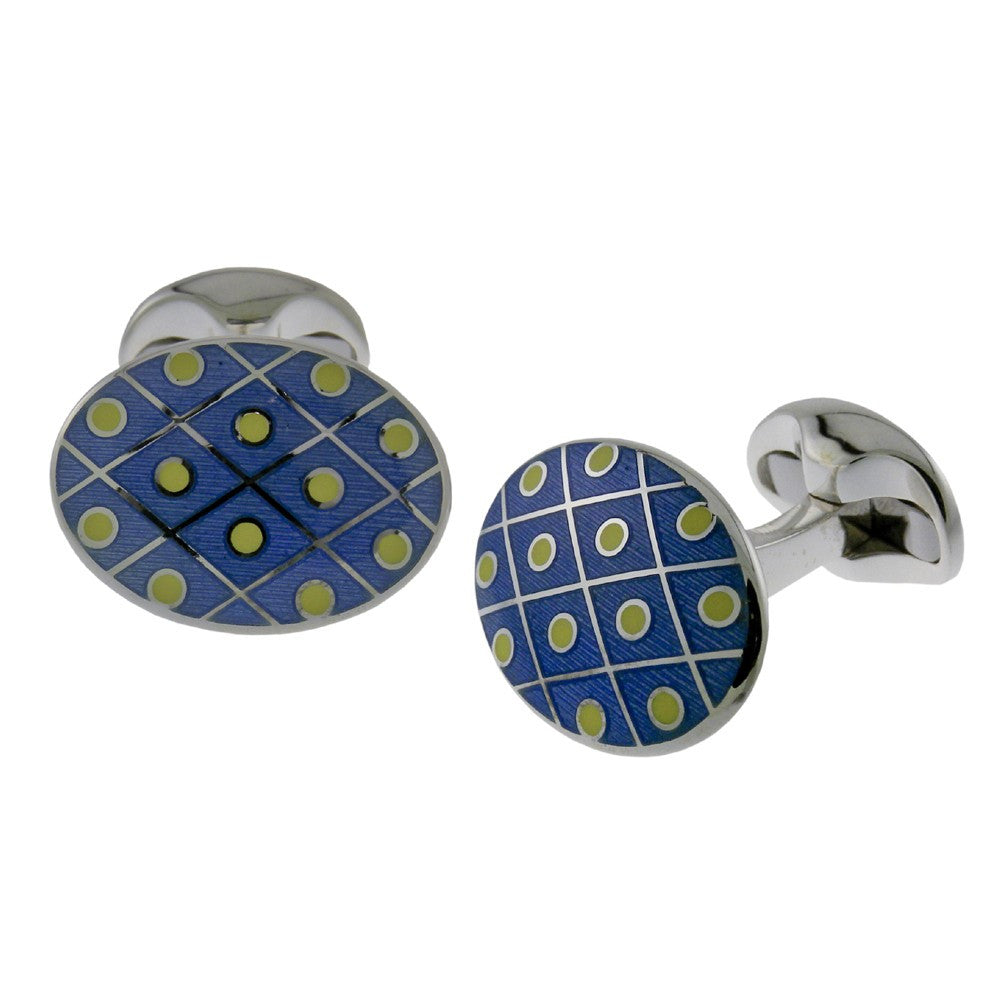Blue & Yellow Dot Enamel Oval Cufflinks