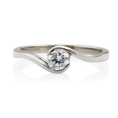 0.5ct Brilliant Cut Wrap Solitaire Ethical Diamond Engagement Ring - CRED Jewellery - Fairtrade Jewellery - 1