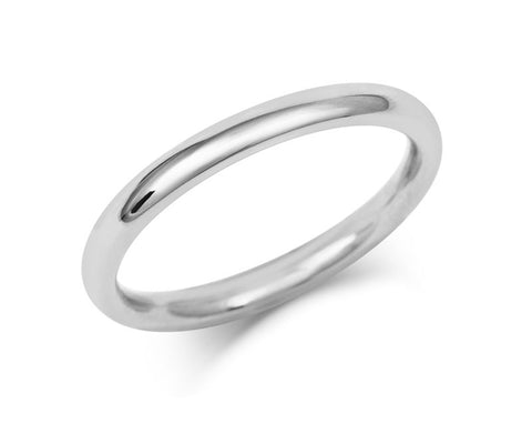 Ladies Medium Weight Court Wedding Ring - Platinum