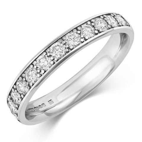 Wide (3.5mm) Classic Pave Diamond Eternity/Wedding Ring - Platinum