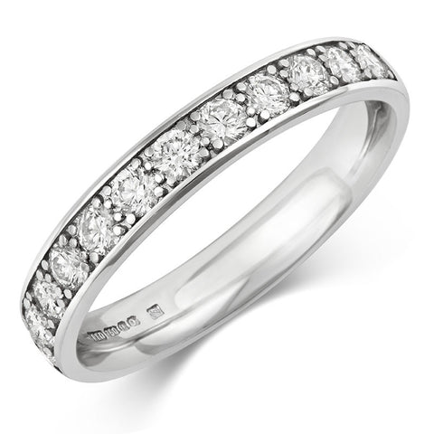 Wide (3.5mm) Classic Pave Diamond Eternity/Wedding Ring - (18ct) Yellow, White or Rose gold