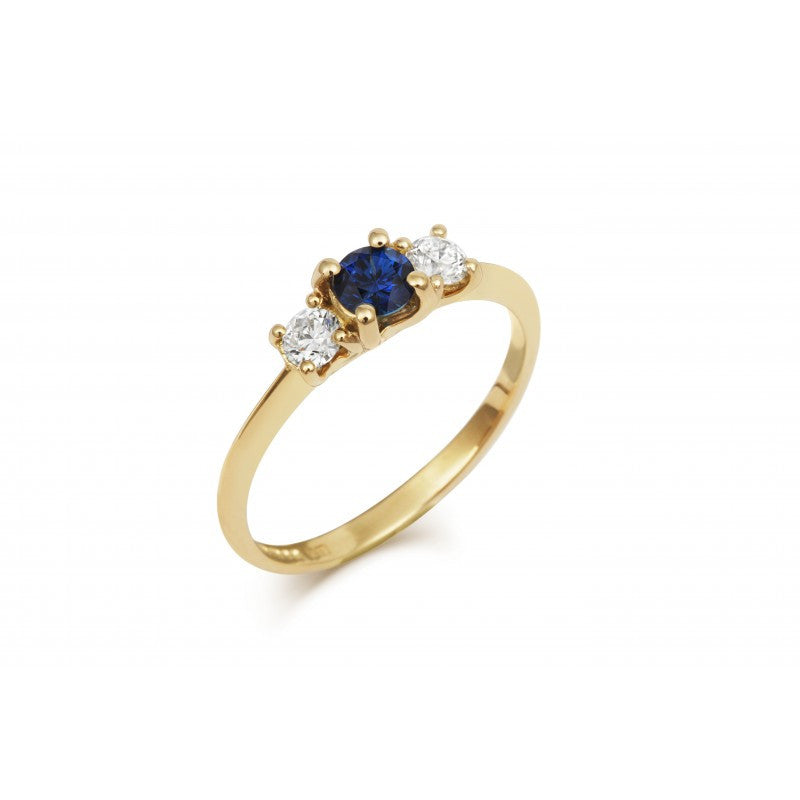 Blue Sapphire Trilogy Ring - CRED Jewellery - Fairtrade Jewellery - 6