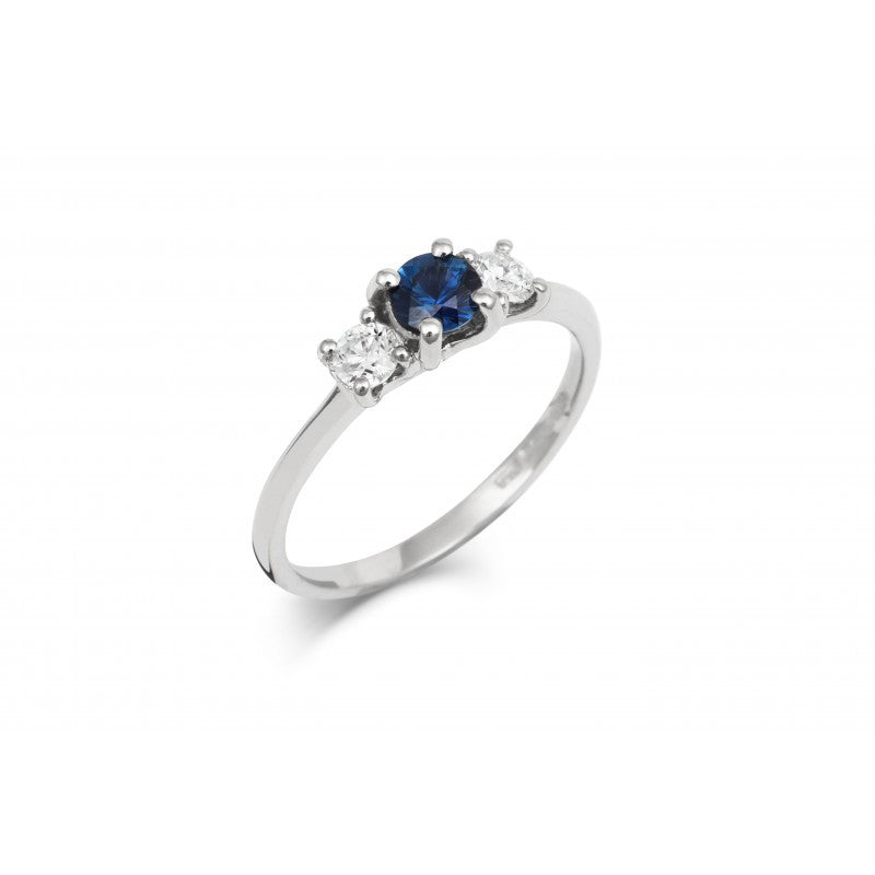 Blue Sapphire Trilogy Ring - CRED Jewellery - Fairtrade Jewellery - 1