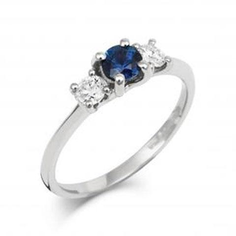 Blue Sapphire Trilogy Engagement Ring with Diamonds