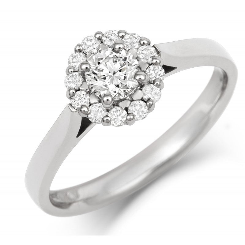 Halo Style Ethical Diamond Cluster Engagement/Dress Ring - CRED Jewellery - Fairtrade Jewellery - 1