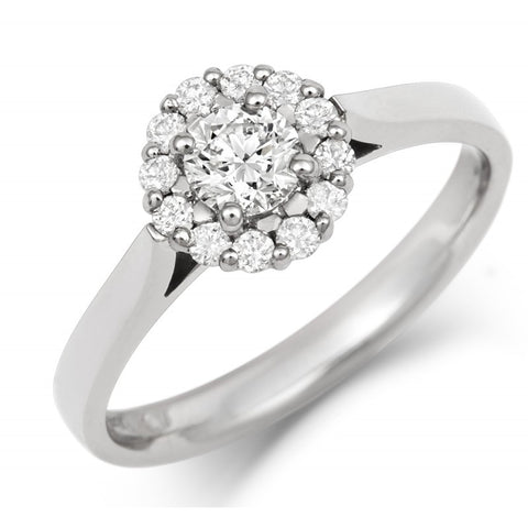 Halo Style Ethical Diamond Cluster Engagement/Dress Ring