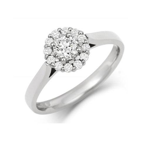 Halo Style Ethical Diamond Cluster Engagement Ring