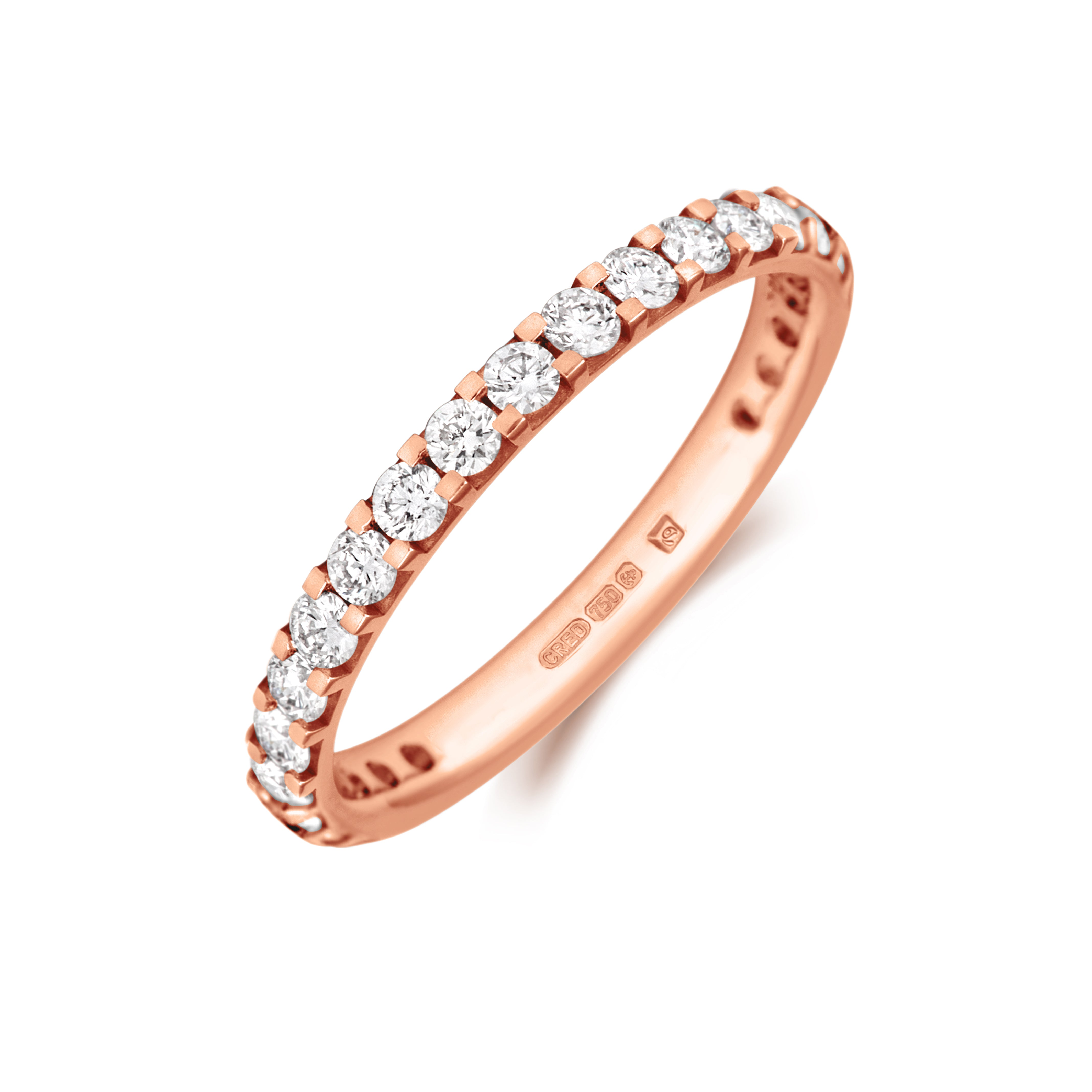 Claw Set Diamond Three Quarter Set Eternity/Wedding Ring - (18ct) Yellow, White or Rose Gold or Platinum