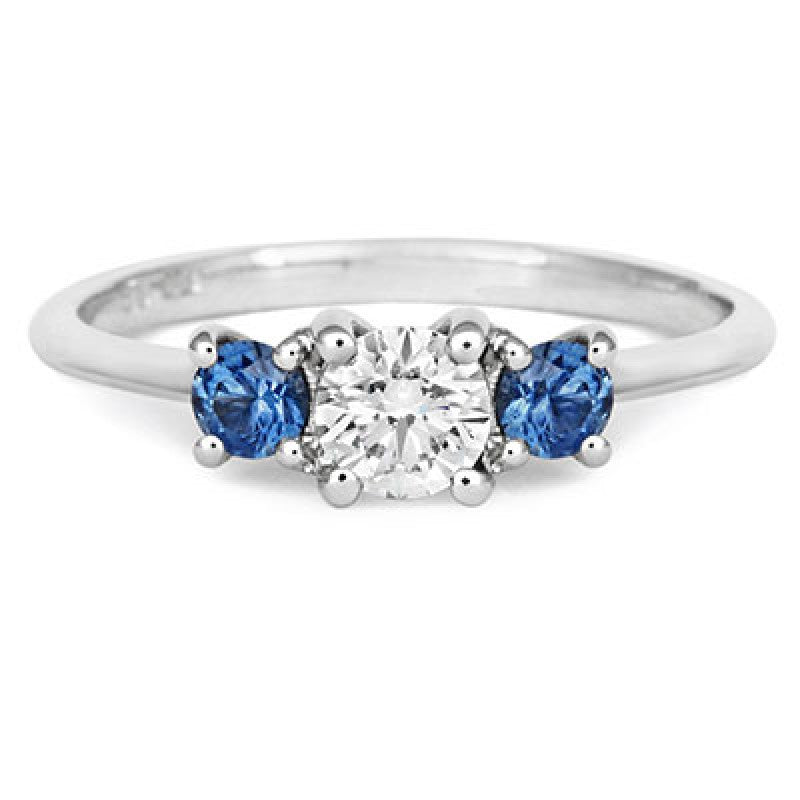 Diamond & Montana Side Sapphires Trilogy Ring - CRED Jewellery - Fairtrade Jewellery - 2