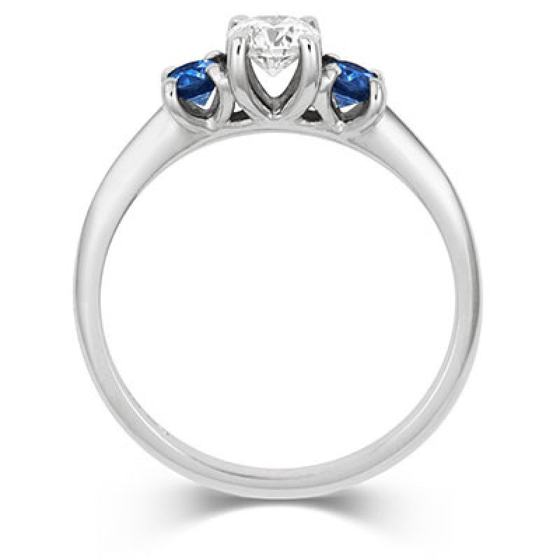 Diamond & Montana Side Sapphires Trilogy Ring - CRED Jewellery - Fairtrade Jewellery - 3
