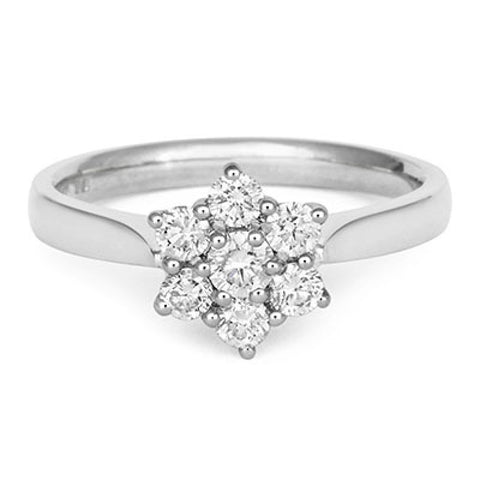 Brilliant Cut 7 Diamond Cluster Engagement Ring