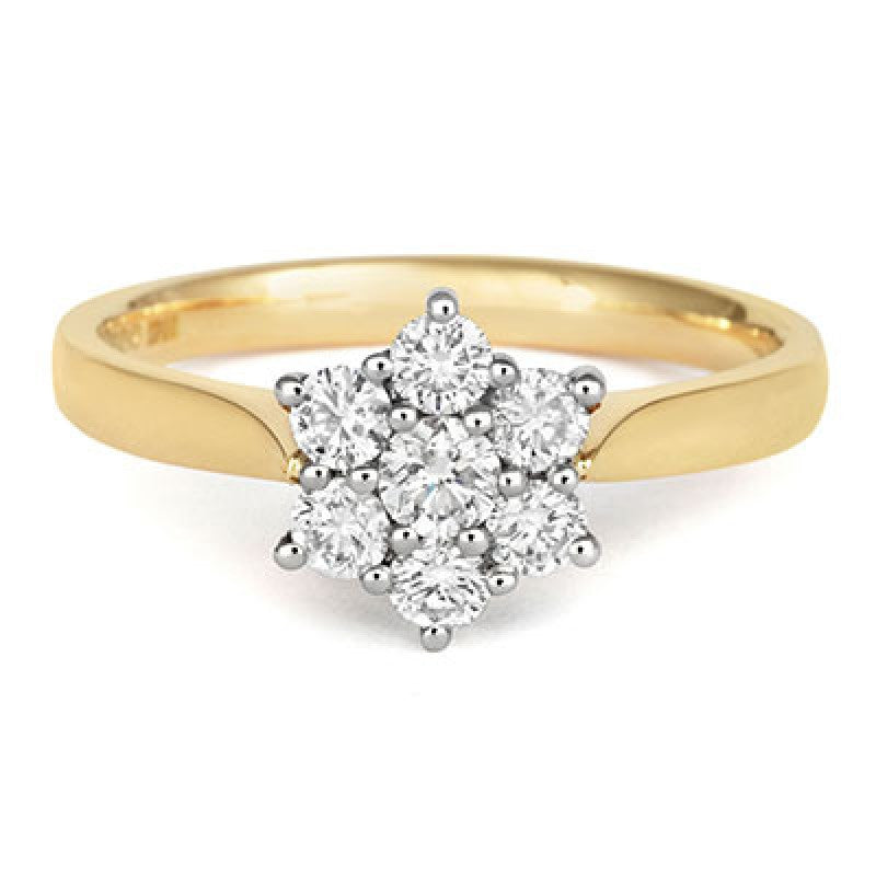 Brilliant Cut 7 Diamond Cluster Ring - CRED Jewellery - Fairtrade Jewellery - 5