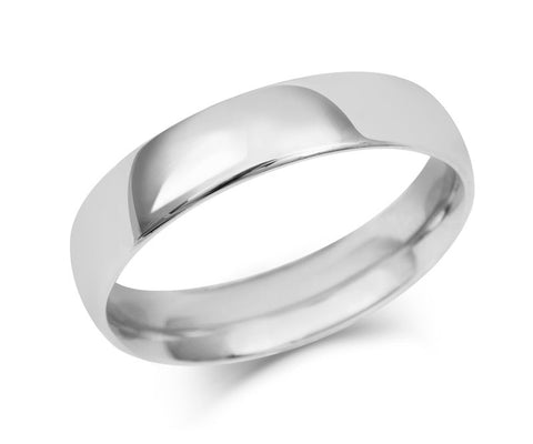 Gents Medium Weight Court Wedding Ring - (18ct) White Gold