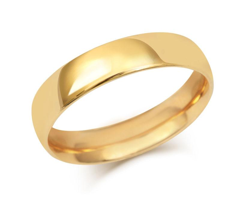 Gents Medium Weight Court Wedding Ring - (18ct) Yellow Gold
