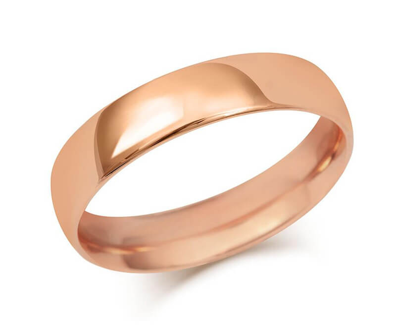 Gents Medium Weight Court Wedding Ring - (18ct) Rose Gold