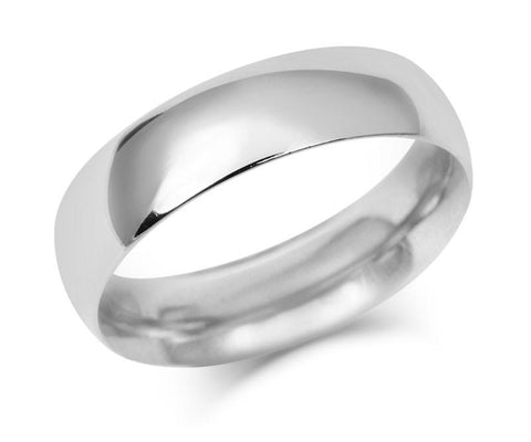Gents Heavy Weight Court Wedding Ring - White Gold (18ct)