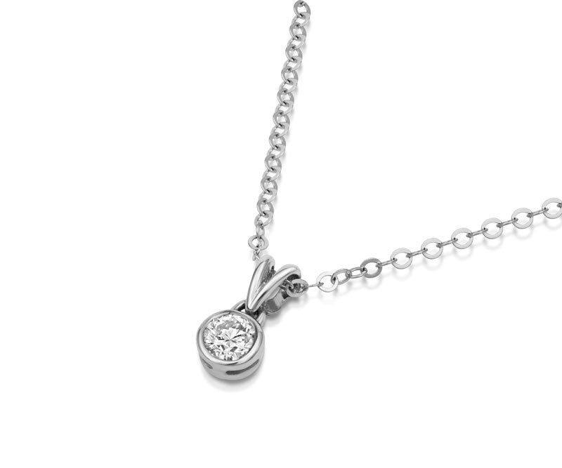 Solitaire Diamond Rubover Pendant - CRED Jewellery - Fairtrade Jewellery - 4