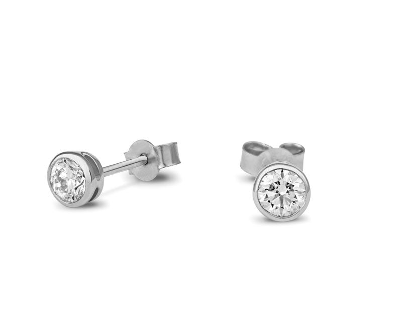 Diamond Rubover Stud Earrings - CRED Jewellery - Fairtrade Jewellery - 1