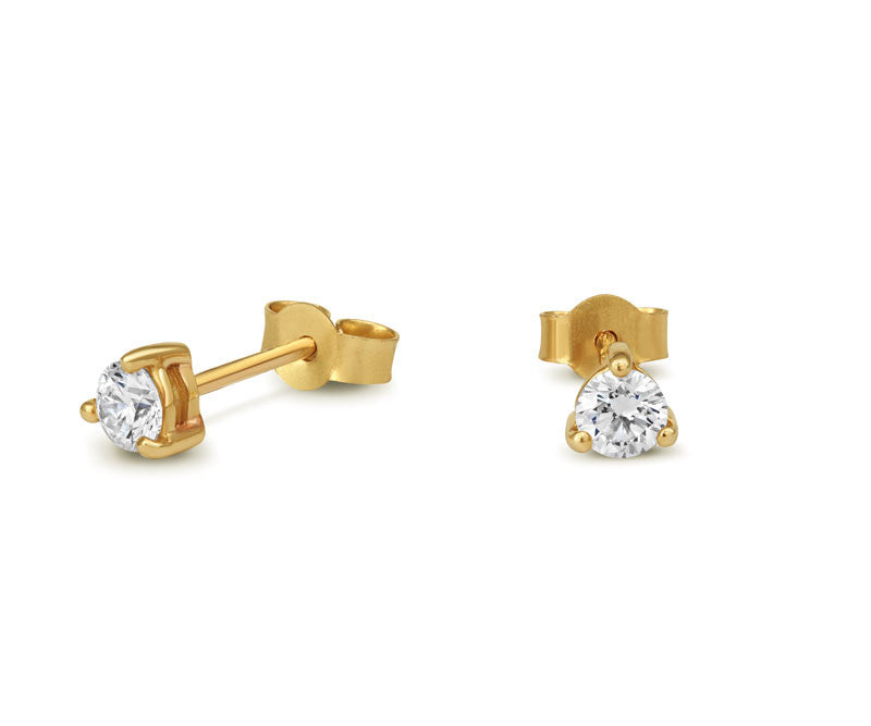 Diamond Claw-set Stud Earrings - CRED Jewellery - Fairtrade Jewellery - 2