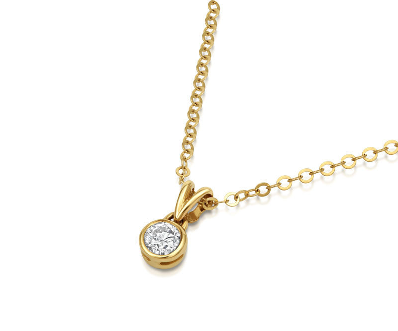 Solitaire Diamond Rubover Pendant - CRED Jewellery - Fairtrade Jewellery - 3