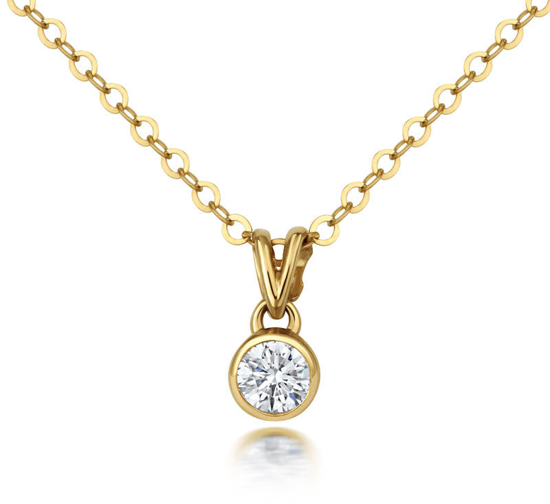 Solitaire Diamond Rubover Pendant - CRED Jewellery - Fairtrade Jewellery - 2