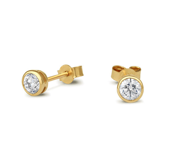Diamond Rubover Stud Earrings - CRED Jewellery - Fairtrade Jewellery - 2