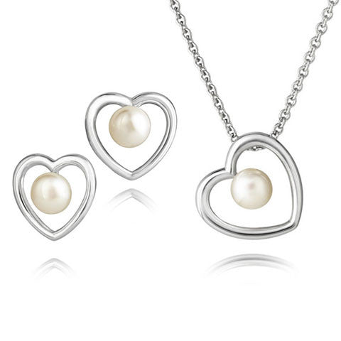 Aphrodite Heart Pearl Simple Pendant & Earrings Set