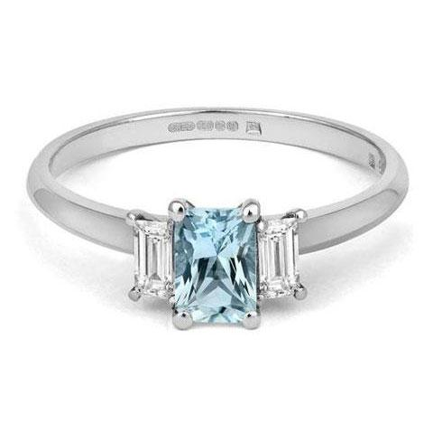 Aqua Trilogy Ethical Engagement Ring With Diamonds