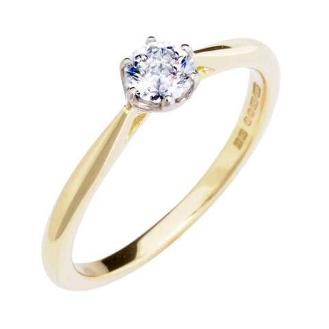 Antique Basket 0.30ct Ethical Solitaire Diamond Engagement Ring - (18ct) Yellow Gold