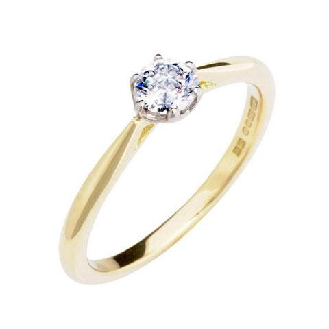 Antique Basket 0.30ct Lab Grown Solitaire Diamond Engagement Ring