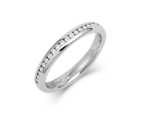 Channel Set Brilliant Cut Half Diamond Eternity/ Wedding Ring - Platinum