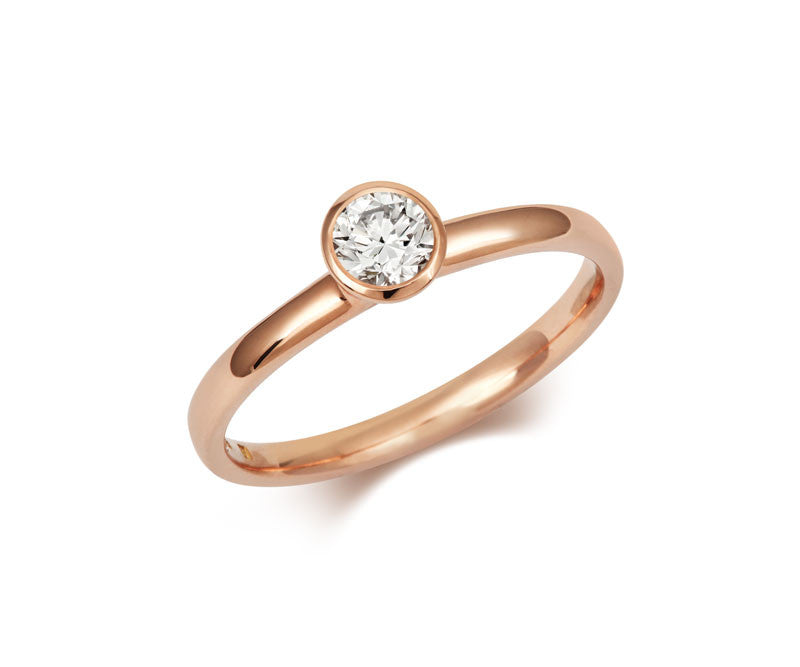 Classic Rubover Brilliant Cut Ethical Diamond Rose Gold Solitaire Engagement Ring - CRED Jewellery - Fairtrade Jewellery - 1