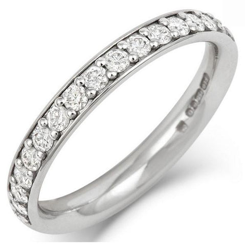 Classic (3mm) Pave Set Diamond Eternity/Wedding Ring - Platinum