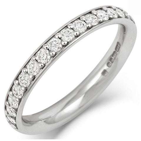 Classic (3mm) Pave Set Lab Grown Diamond Eternity/Wedding Ring - Platinum